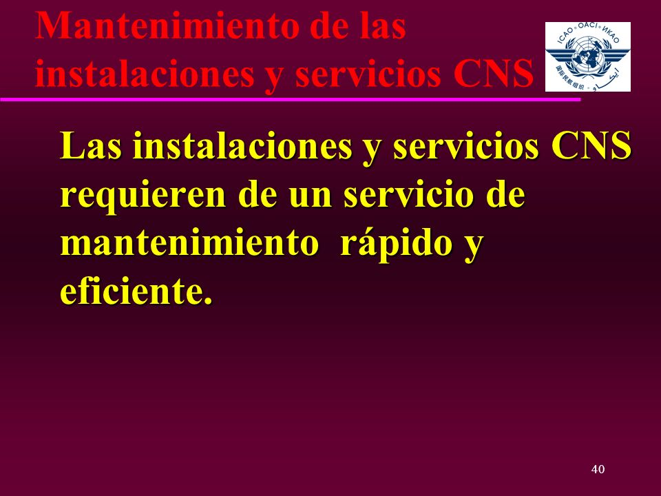 Mantenimiento de las instalaciones y servicios CNS