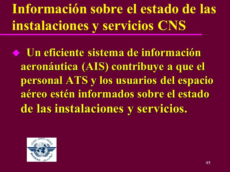 Información sobre el estado de las instalaciones y servicios CNS