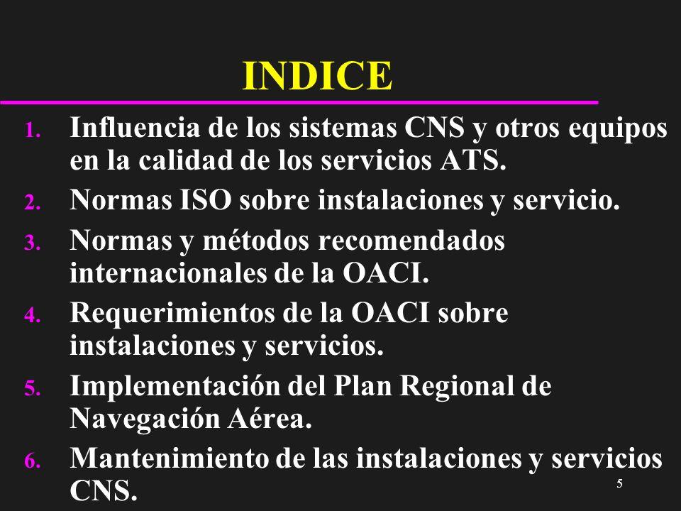 INDICE Influencia de los sistemas CNS y otros equipos en la calidad de los servicios ATS. Normas ISO sobre instalaciones y servicio.