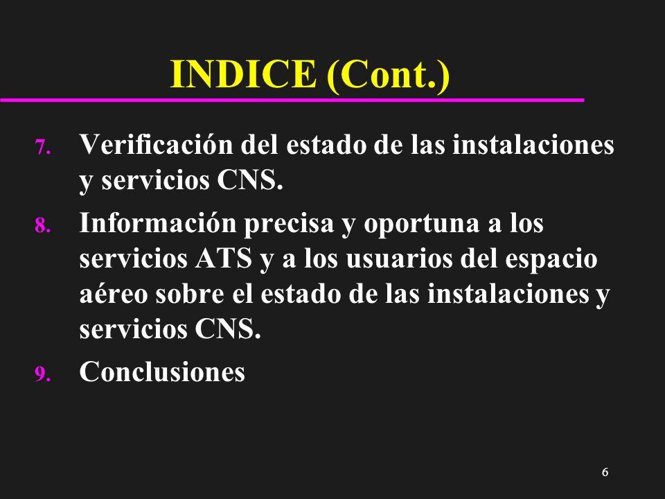 INDICE (Cont.) Verificación del estado de las instalaciones y servicios CNS.