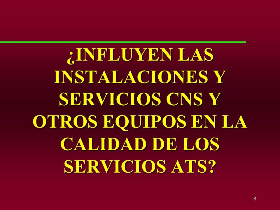 ¿INFLUYEN LAS INSTALACIONES Y SERVICIOS CNS Y OTROS EQUIPOS EN LA CALIDAD DE LOS SERVICIOS ATS