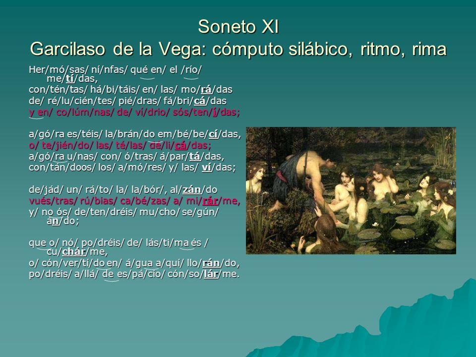 Soneto XI Garcilaso de la Vega: cómputo silábico, ritmo, rima
