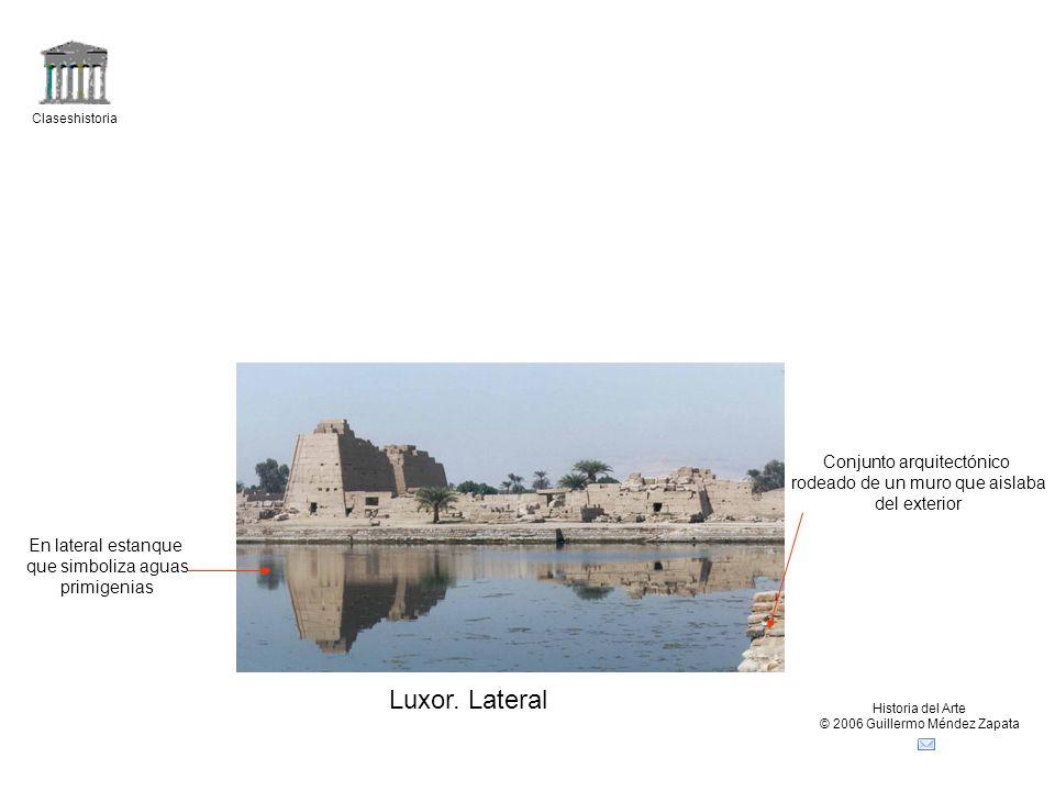 Luxor. Lateral Conjunto arquitectónico rodeado de un muro que aislaba