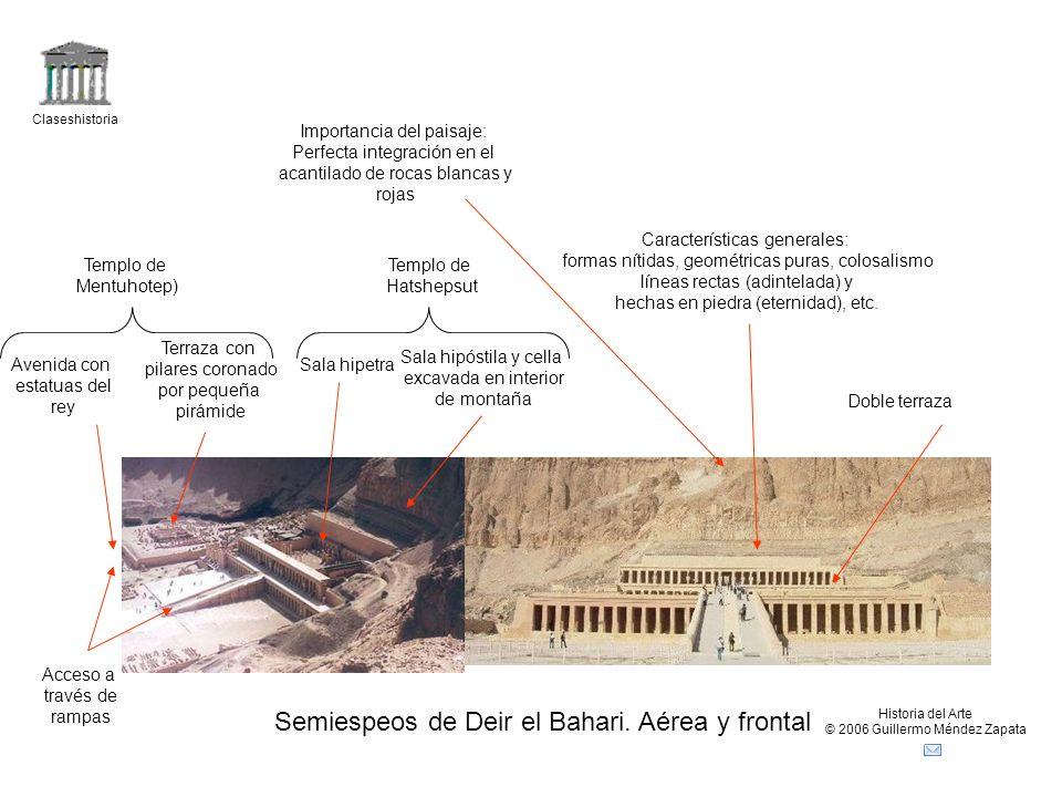 Semiespeos de Deir el Bahari. Aérea y frontal
