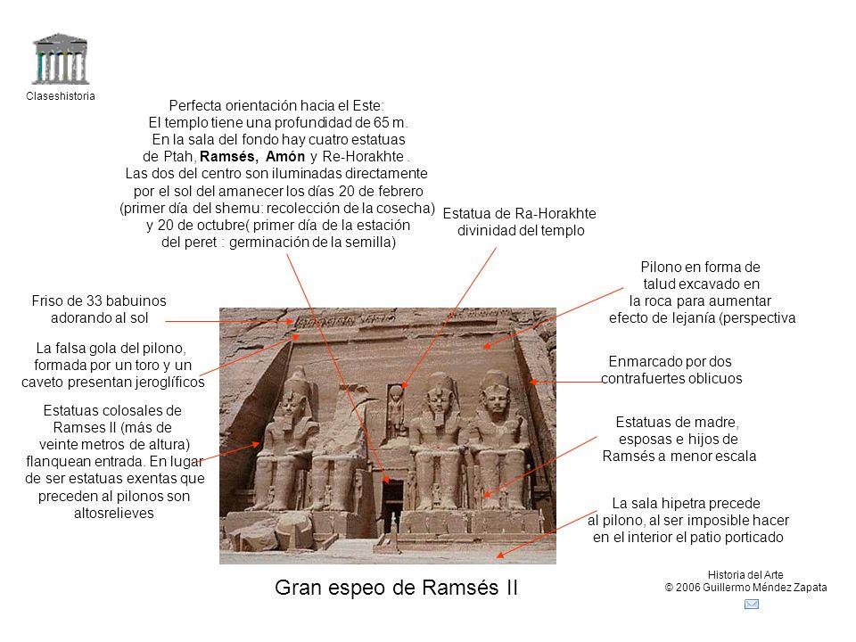 Gran espeo de Ramsés II Perfecta orientación hacia el Este: