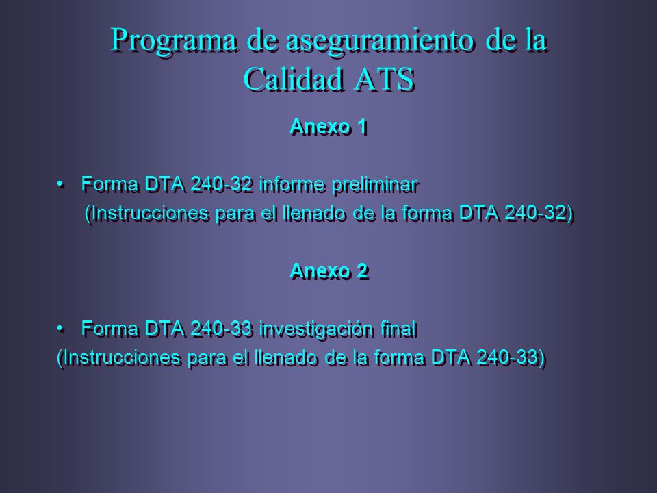 Programa de aseguramiento de la Calidad ATS