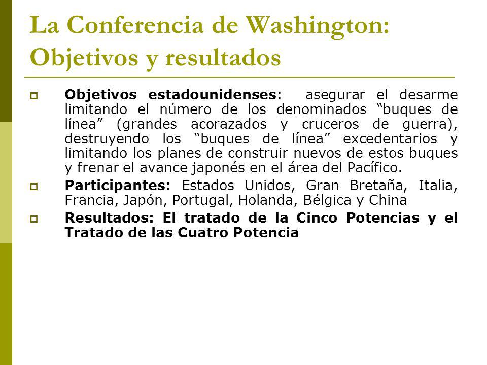 La Conferencia de Washington: Objetivos y resultados