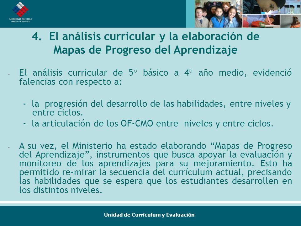 4. El análisis curricular y la elaboración de Mapas de Progreso del Aprendizaje