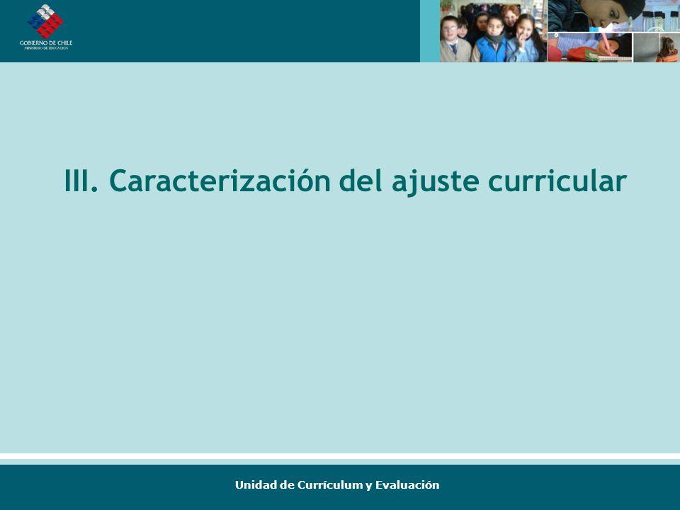 III. Caracterización del ajuste curricular