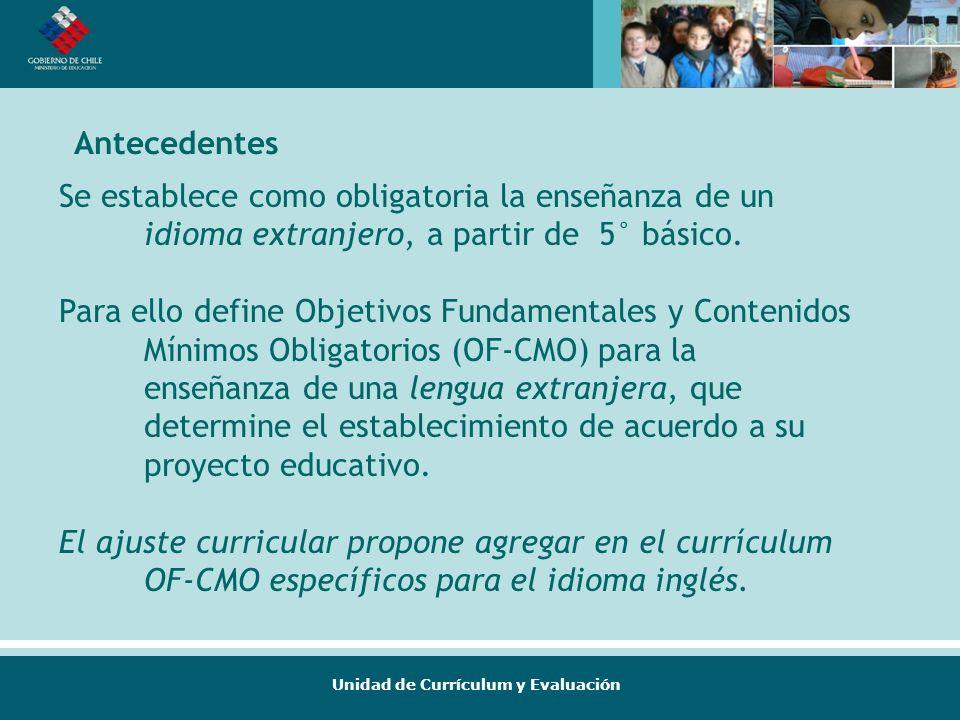 Antecedentes Se establece como obligatoria la enseñanza de un idioma extranjero, a partir de 5° básico.