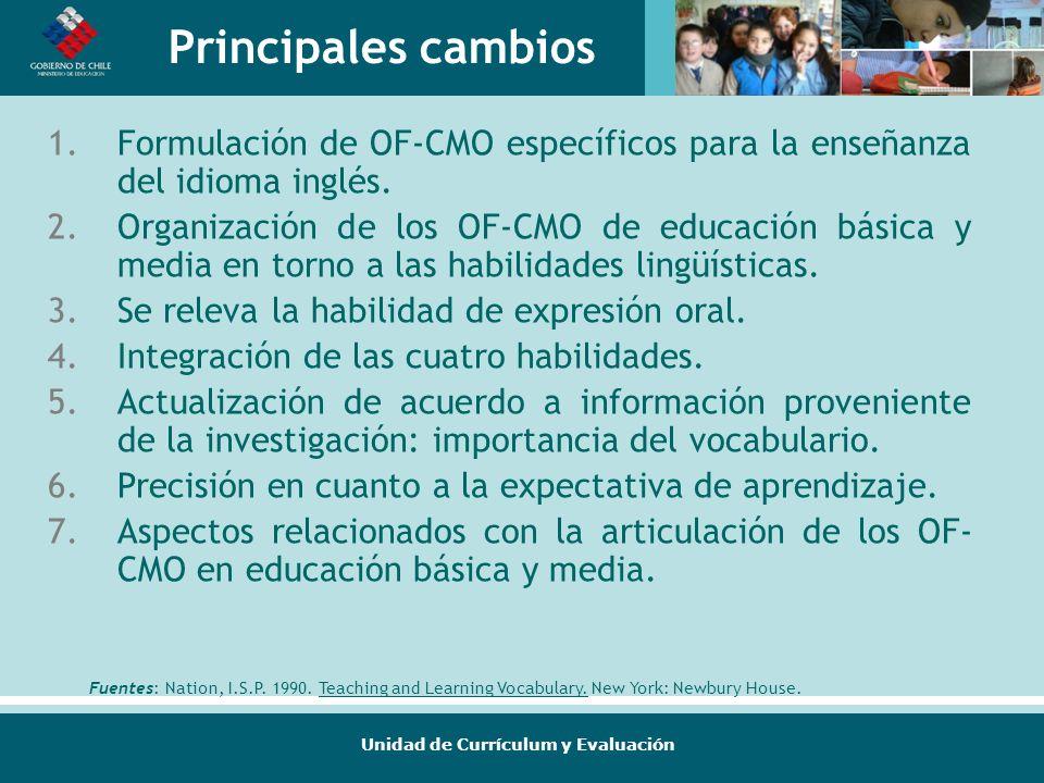 Principales cambios Formulación de OF-CMO específicos para la enseñanza del idioma inglés.