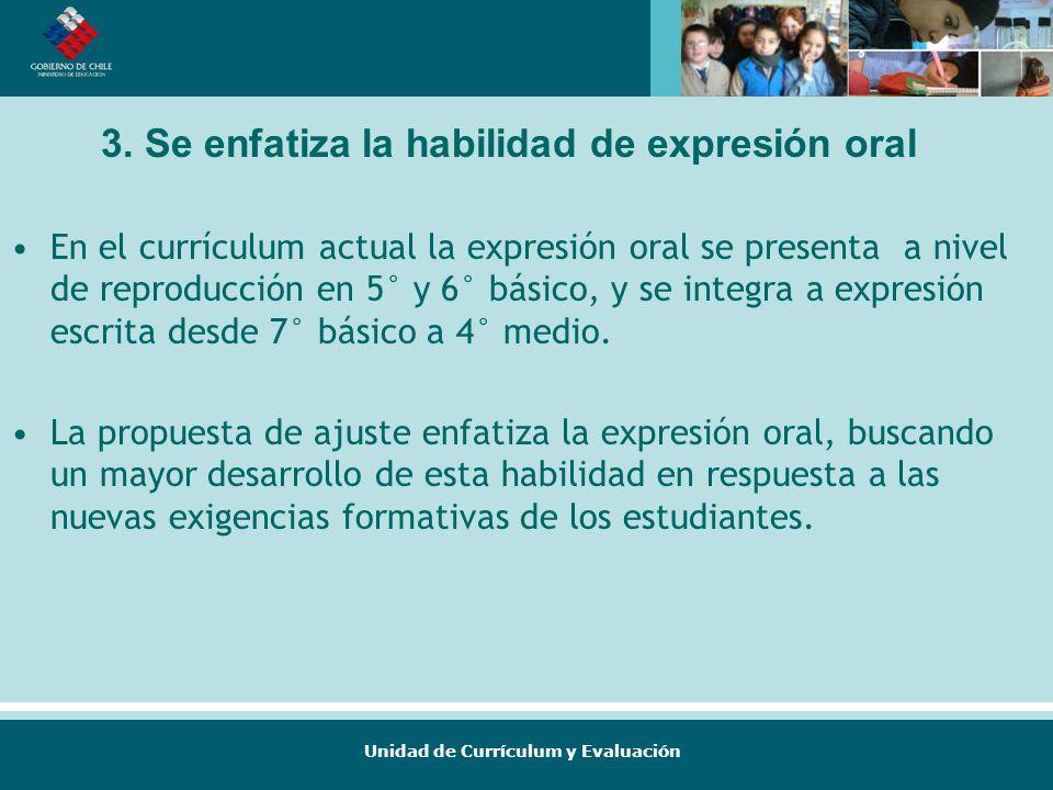 3. Se enfatiza la habilidad de expresión oral