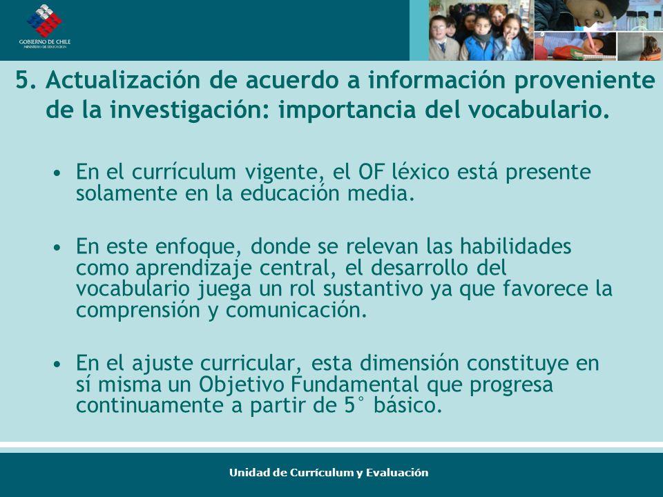 5. Actualización de acuerdo a información proveniente de la investigación: importancia del vocabulario.
