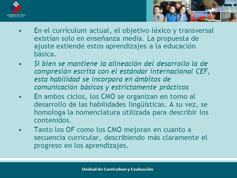 En el currículum actual, el objetivo léxico y transversal existían solo en enseñanza media. La propuesta de ajuste extiende estos aprendizajes a la educación básica.