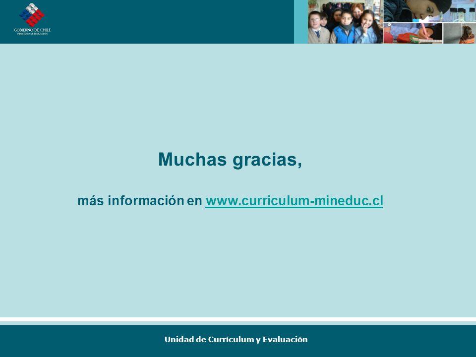 Muchas gracias, más información en www.curriculum-mineduc.cl