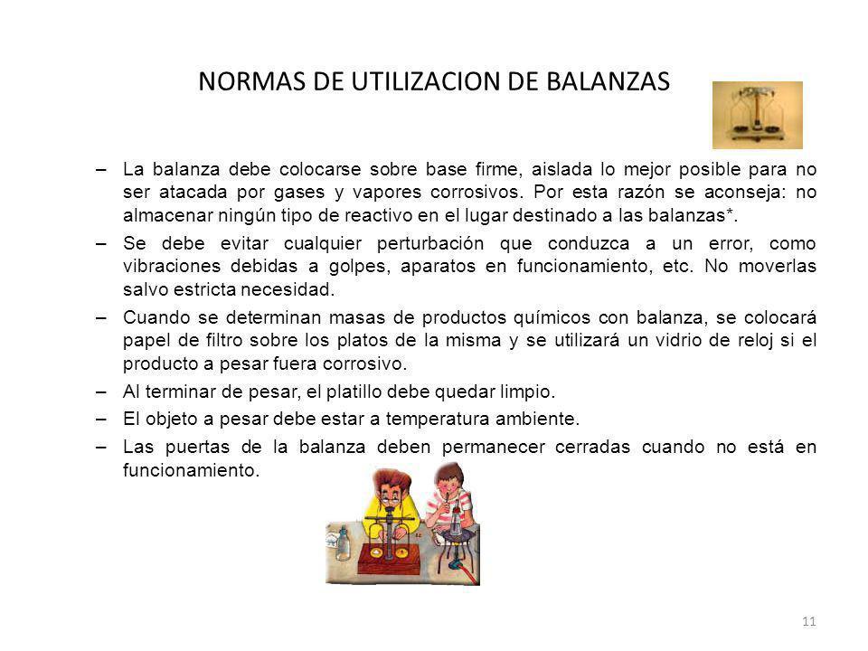 NORMAS DE UTILIZACION DE BALANZAS