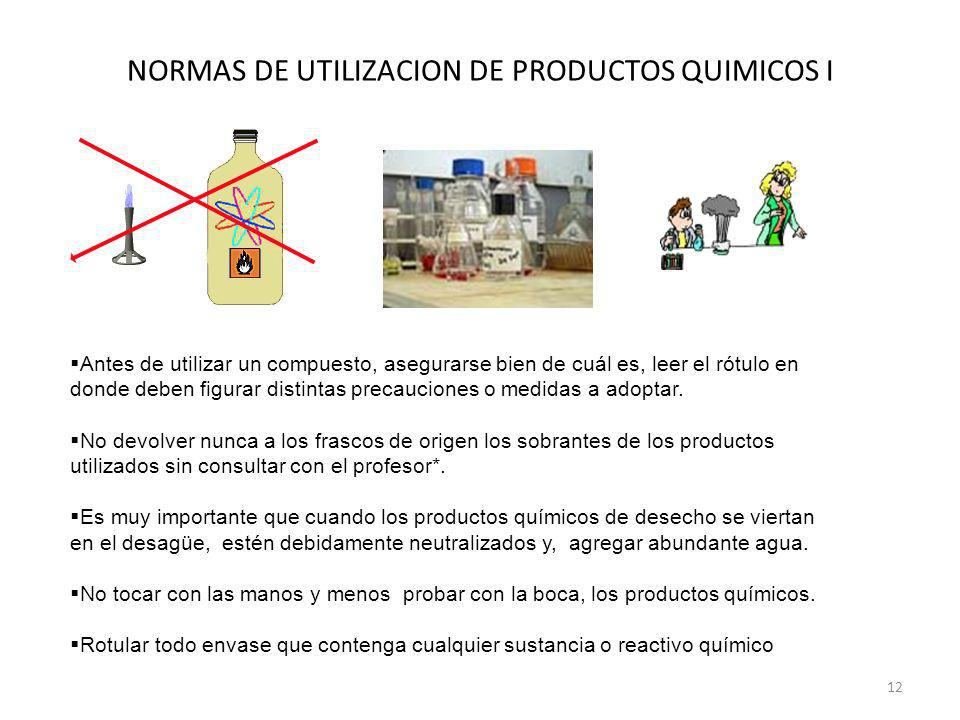 NORMAS DE UTILIZACION DE PRODUCTOS QUIMICOS I