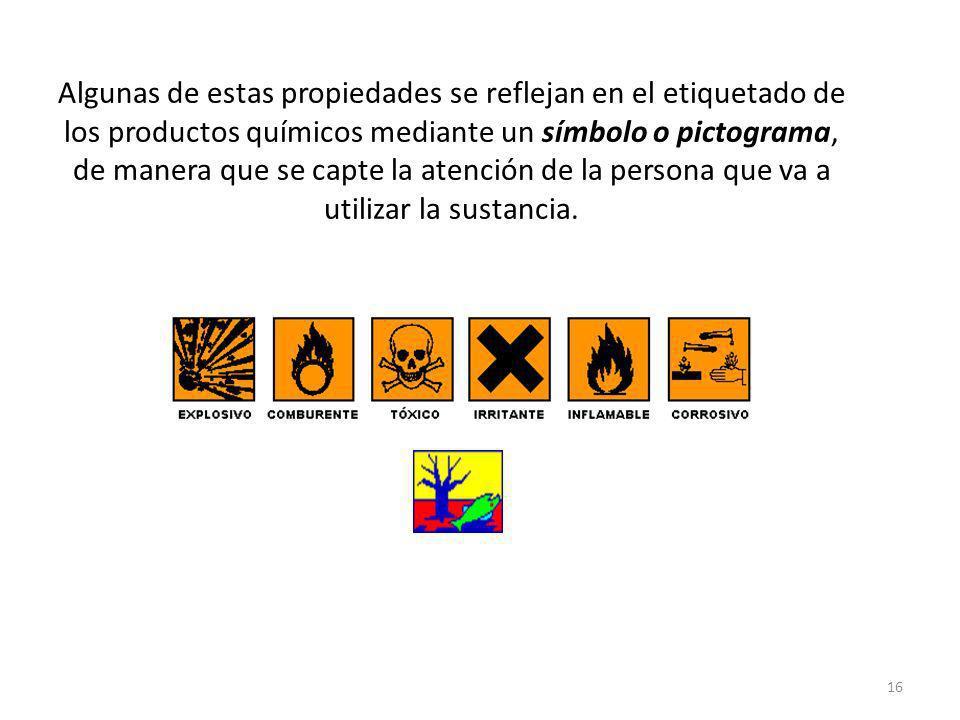Algunas de estas propiedades se reflejan en el etiquetado de los productos químicos mediante un símbolo o pictograma, de manera que se capte la atención de la persona que va a utilizar la sustancia.