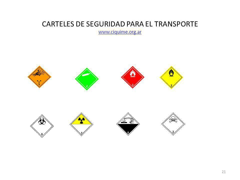 CARTELES DE SEGURIDAD PARA EL TRANSPORTE www.ciquime.org.ar