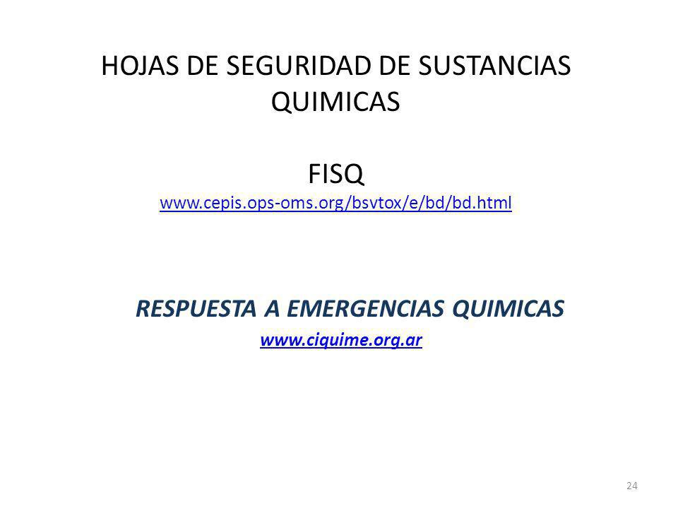 RESPUESTA A EMERGENCIAS QUIMICAS www.ciquime.org.ar