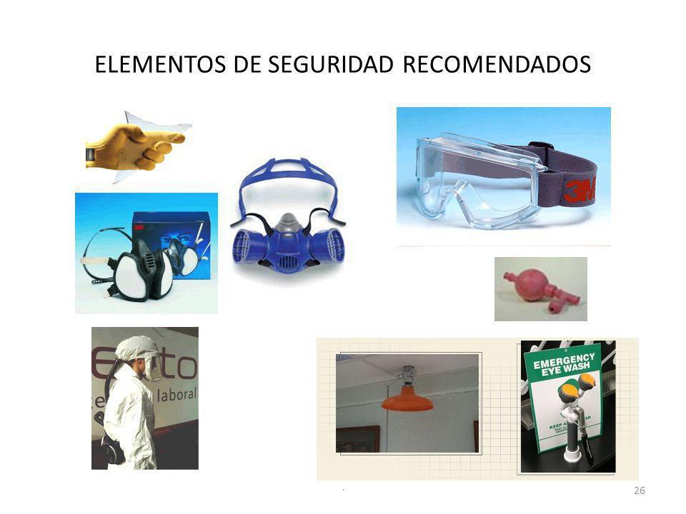 ELEMENTOS DE SEGURIDAD RECOMENDADOS