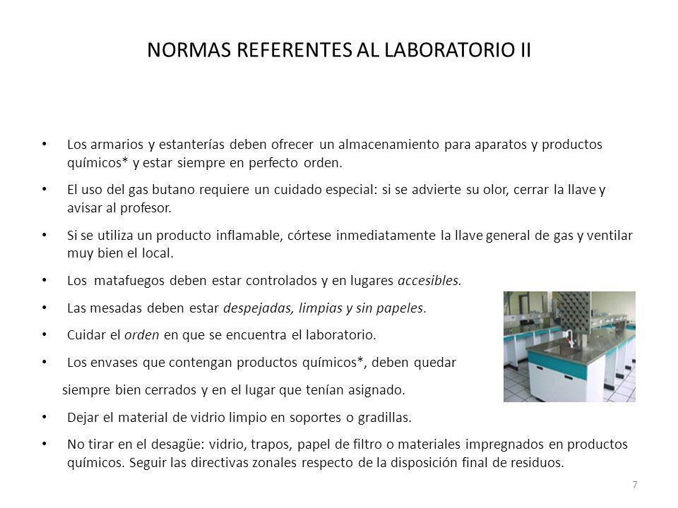 NORMAS REFERENTES AL LABORATORIO II