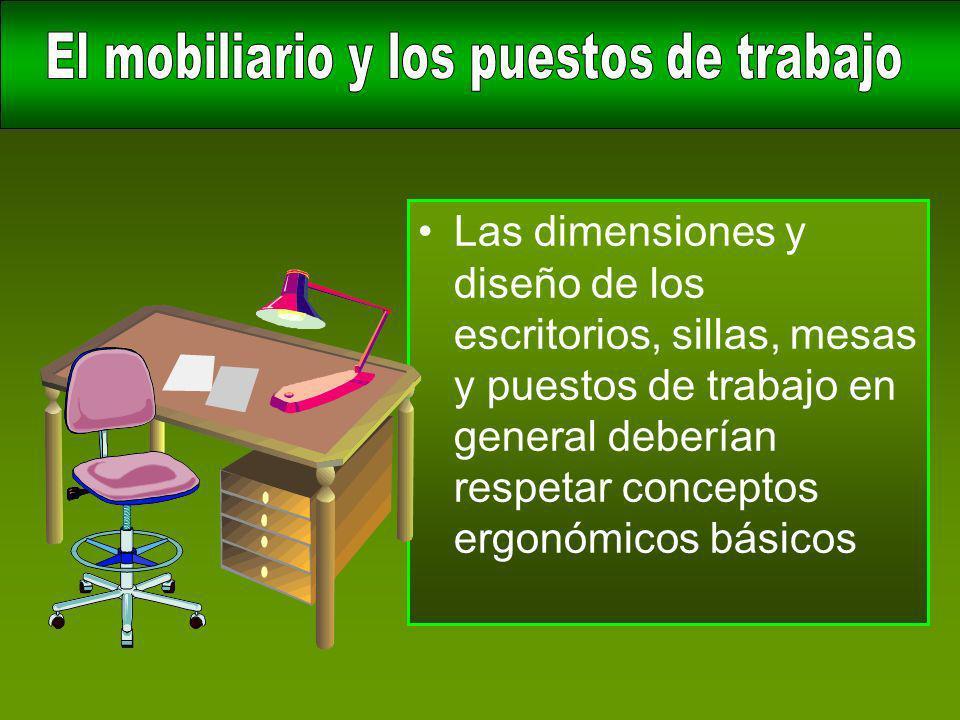 El mobiliario y los puestos de trabajo