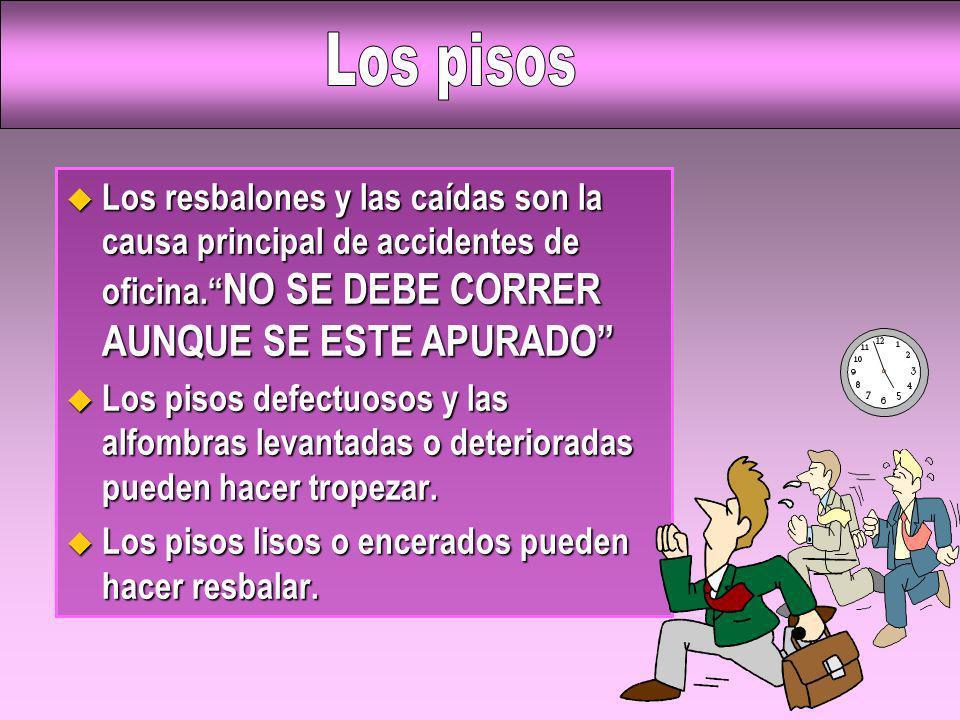Los pisosLos resbalones y las caídas son la causa principal de accidentes de oficina. NO SE DEBE CORRER AUNQUE SE ESTE APURADO
