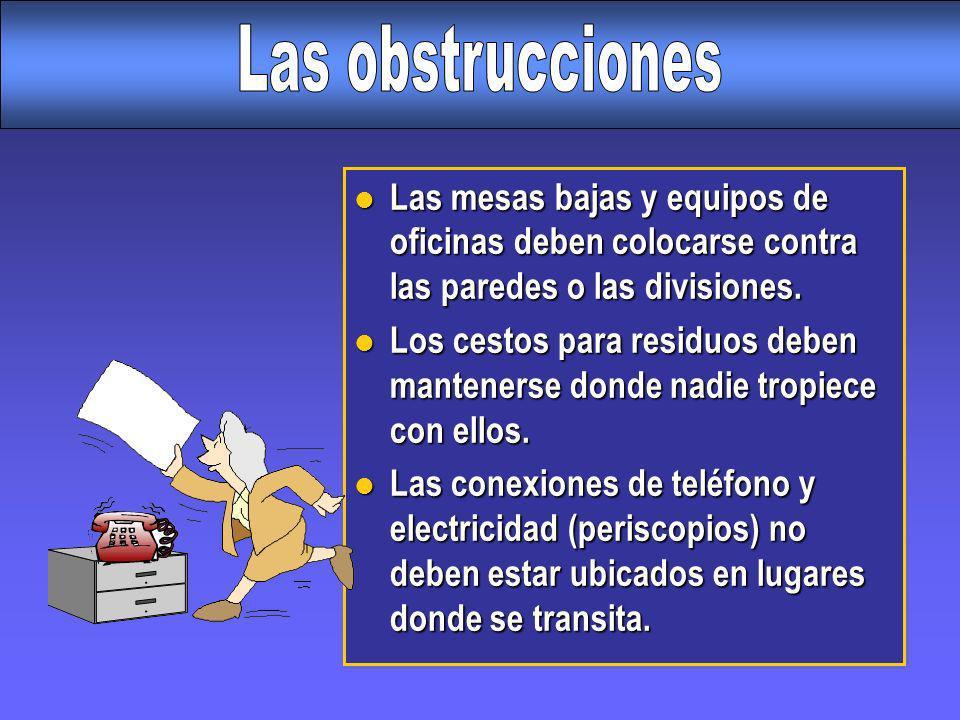 Las obstruccionesLas mesas bajas y equipos de oficinas deben colocarse contra las paredes o las divisiones.