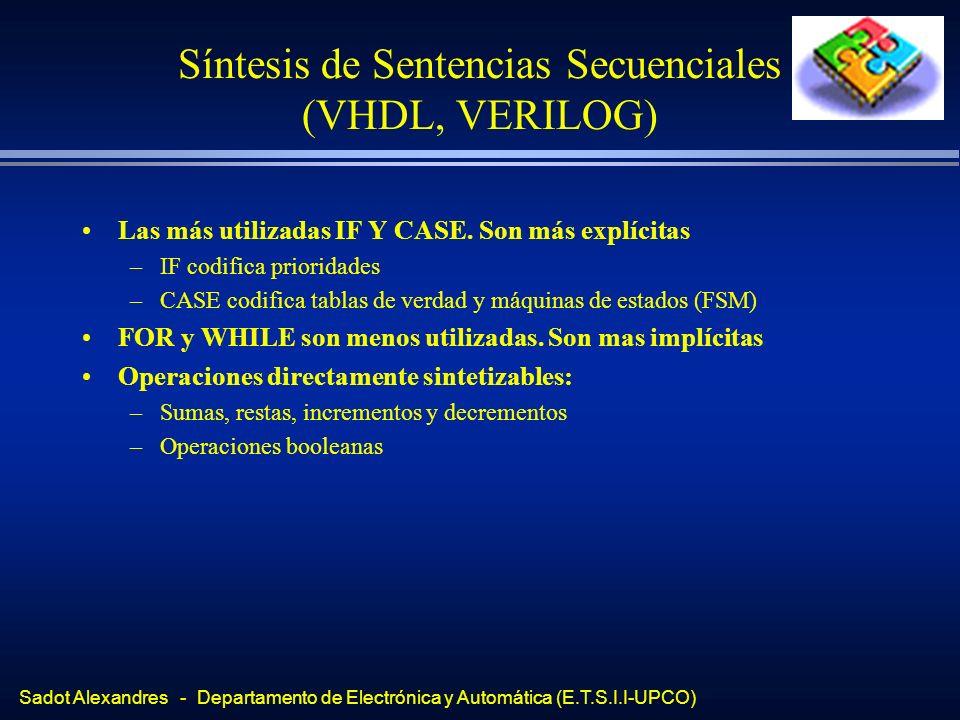 Síntesis de Sentencias Secuenciales (VHDL, VERILOG)