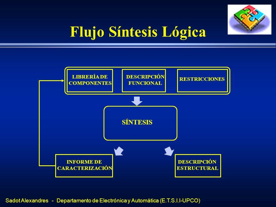 Flujo Síntesis Lógica SÍNTESIS LIBRERÍA DE COMPONENTES DESCRIPCIÓN
