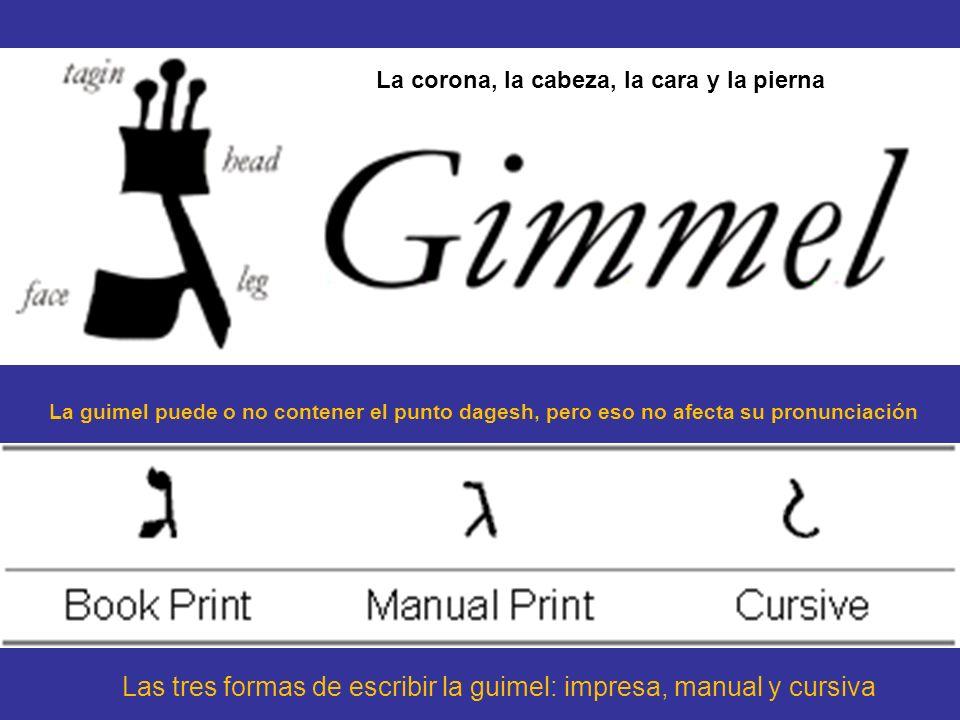 Las tres formas de escribir la guimel: impresa, manual y cursiva