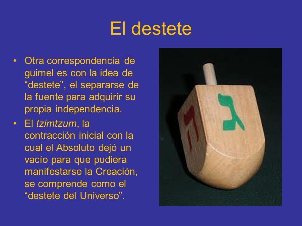 El destete Otra correspondencia de guimel es con la idea de destete , el separarse de la fuente para adquirir su propia independencia.