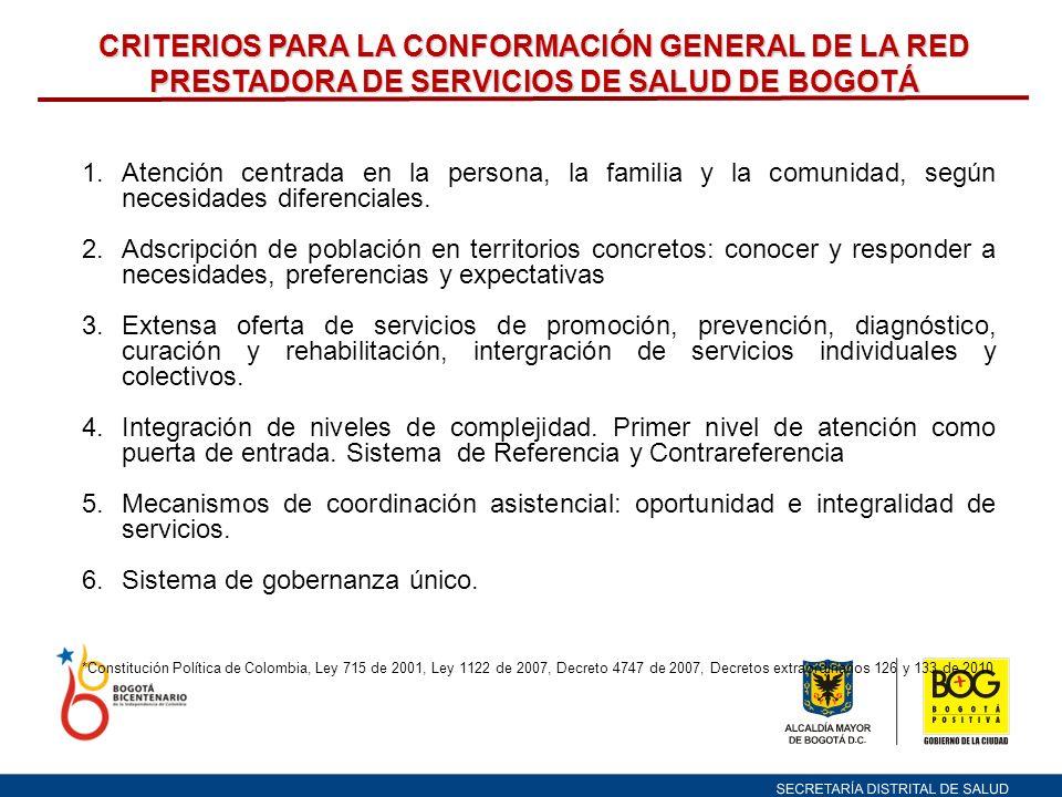 CRITERIOS PARA LA CONFORMACIÓN GENERAL DE LA RED PRESTADORA DE SERVICIOS DE SALUD DE BOGOTÁ