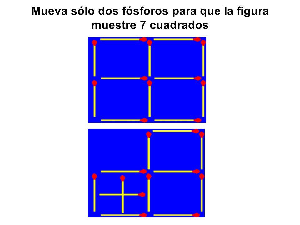 Mueva sólo dos fósforos para que la figura muestre 7 cuadrados
