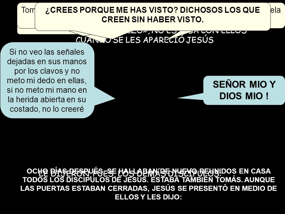 ¿CREES PORQUE ME HAS VISTO DICHOSOS LOS QUE CREEN SIN HABER VISTO.