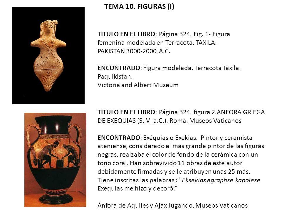 TEMA 10. FIGURAS (I) TITULO EN EL LIBRO: Página 324. Fig. 1- Figura femenina modelada en Terracota. TAXILA. PAKISTAN 3000-2000 A.C.