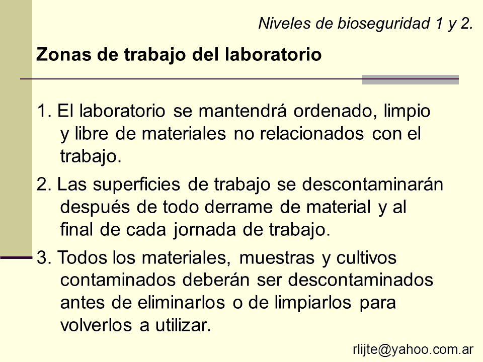 Zonas de trabajo del laboratorio
