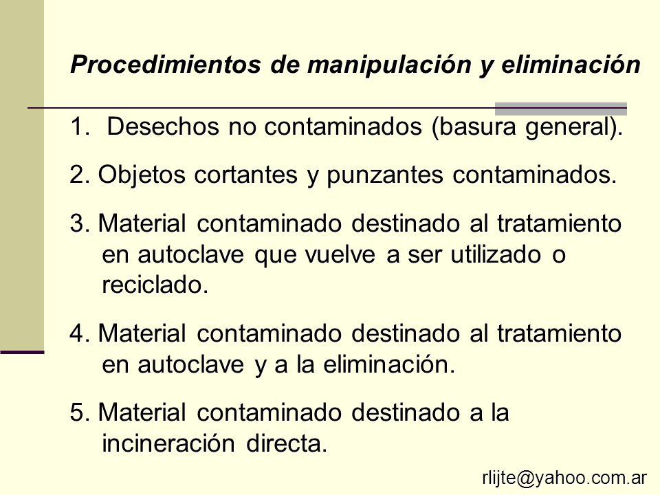 Procedimientos de manipulación y eliminación