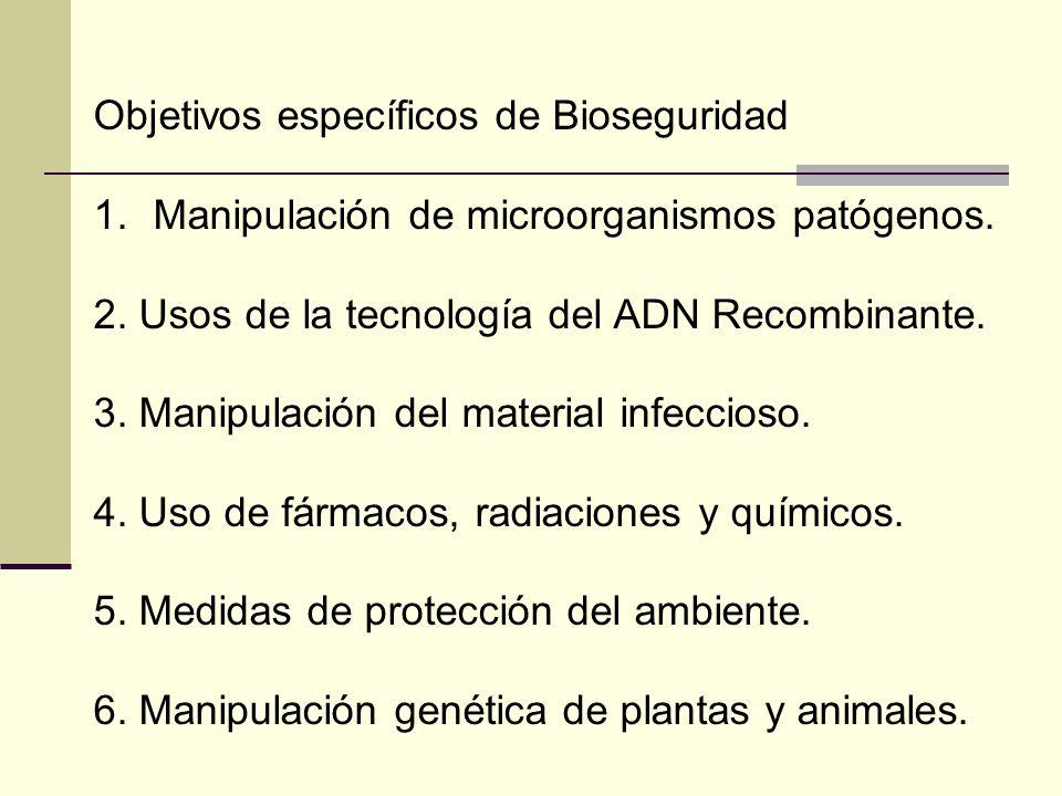 Objetivos específicos de Bioseguridad