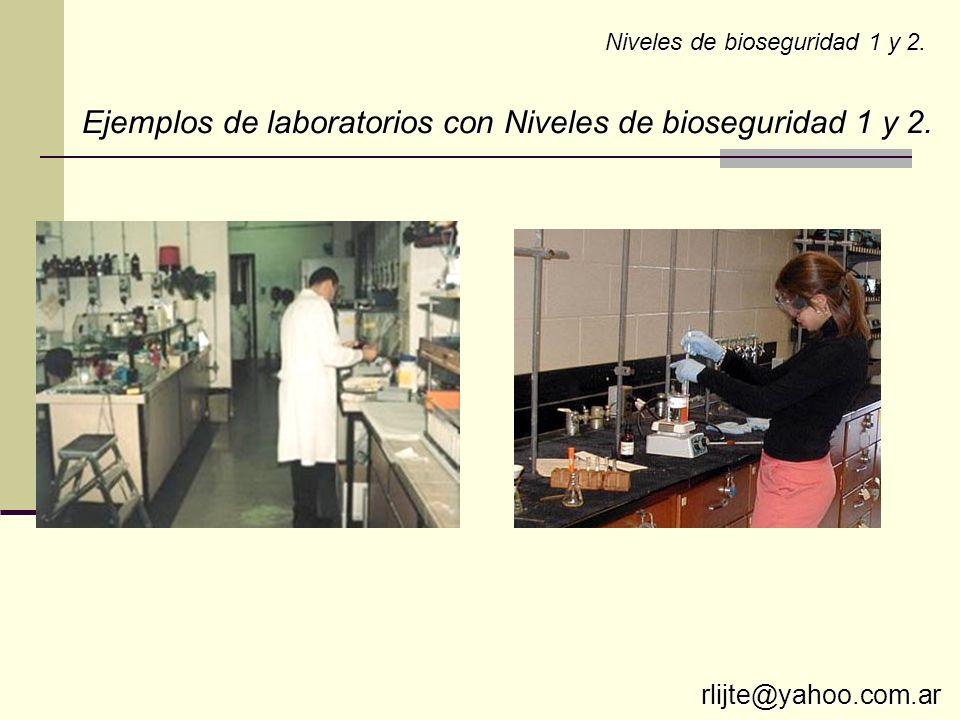 Ejemplos de laboratorios con Niveles de bioseguridad 1 y 2.