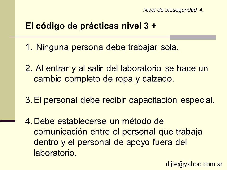 El código de prácticas nivel 3 + Ninguna persona debe trabajar sola.