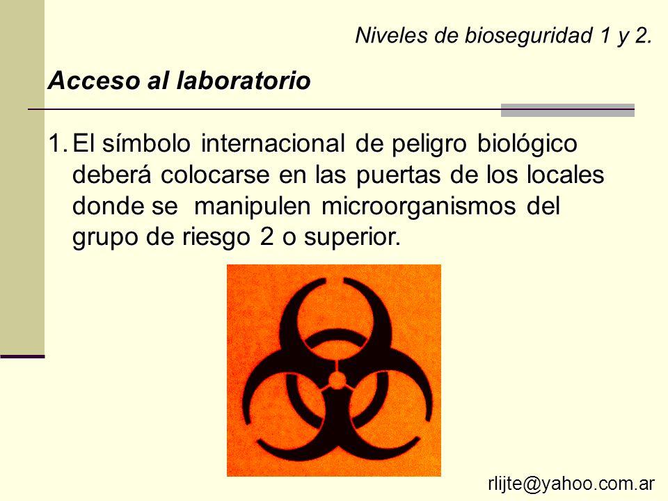 Niveles de bioseguridad 1 y 2.