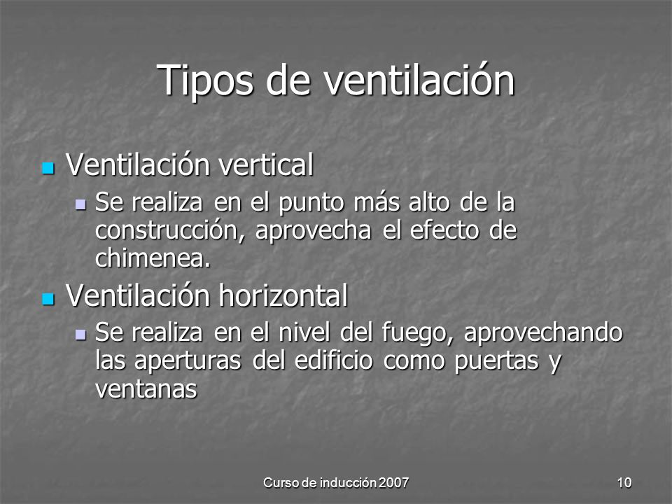 Tipos de ventilación Ventilación vertical Ventilación horizontal
