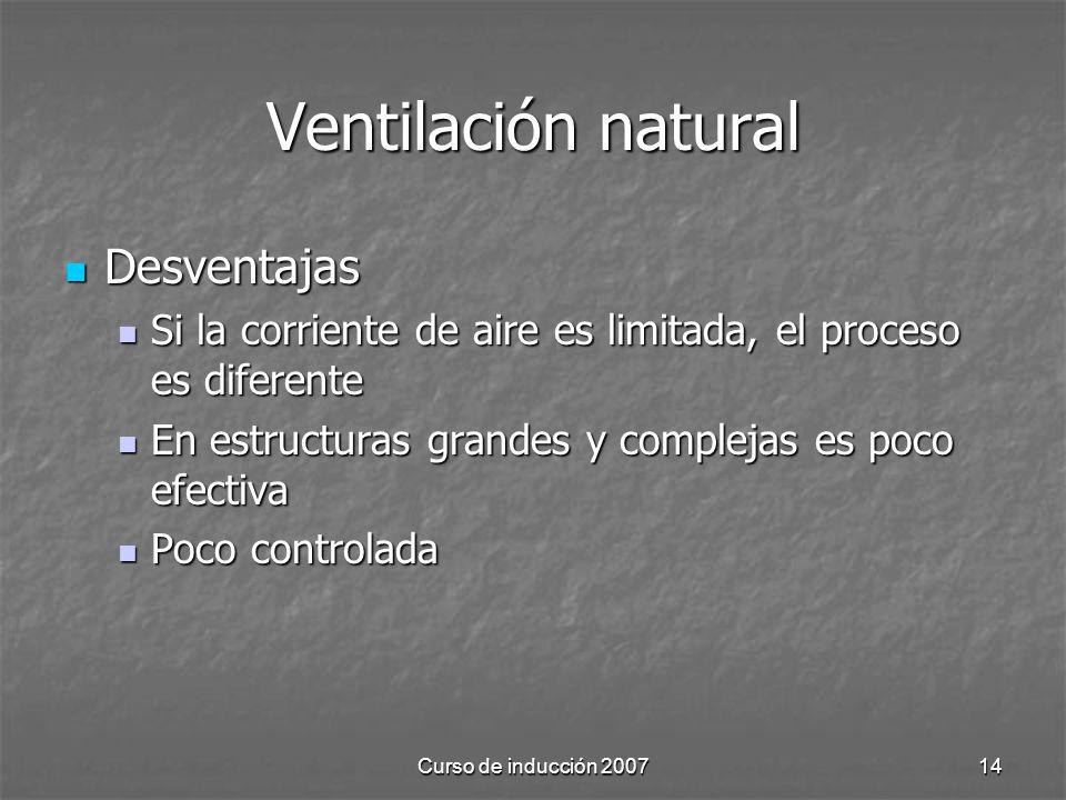 Ventilación natural Desventajas