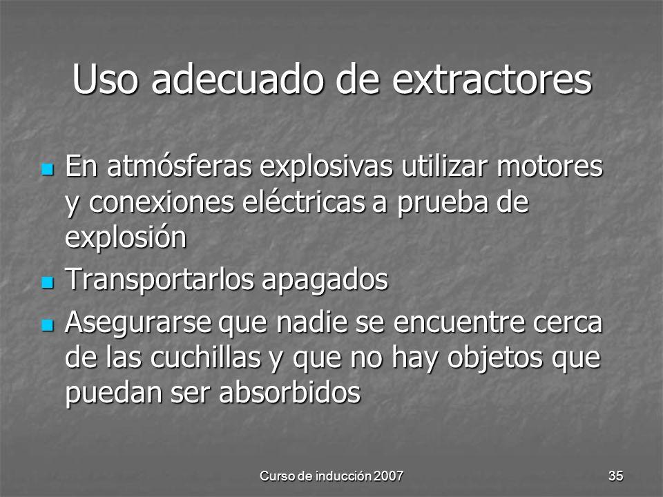 Uso adecuado de extractores