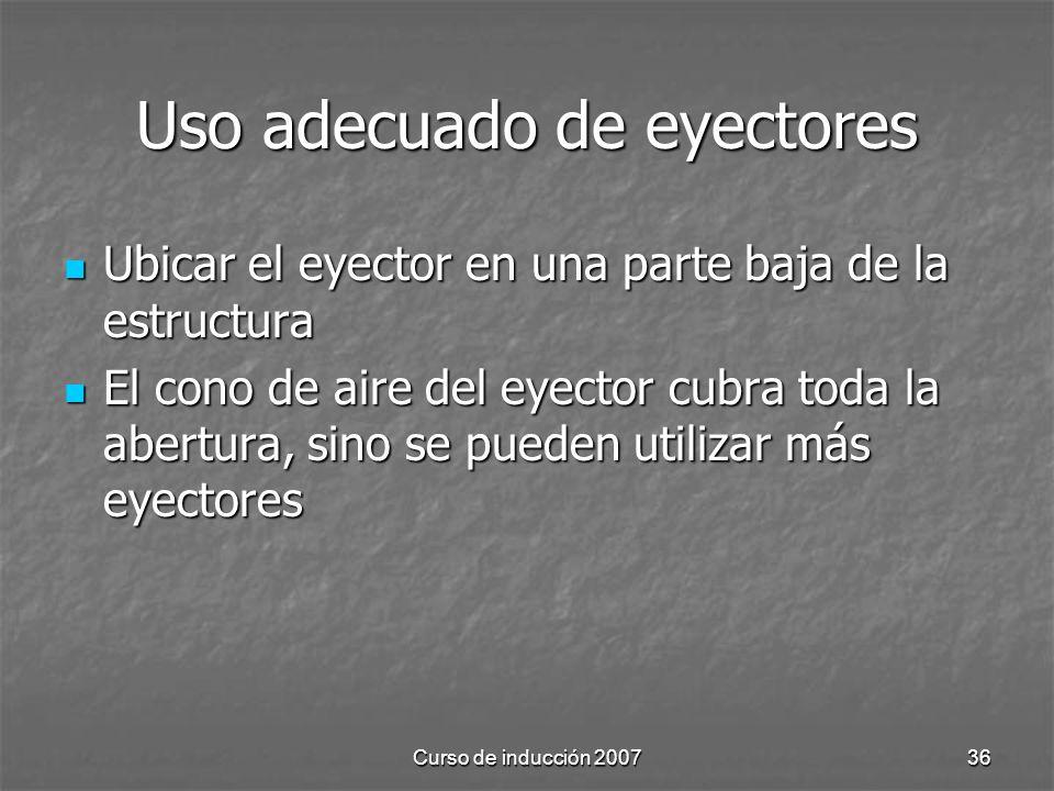 Uso adecuado de eyectores