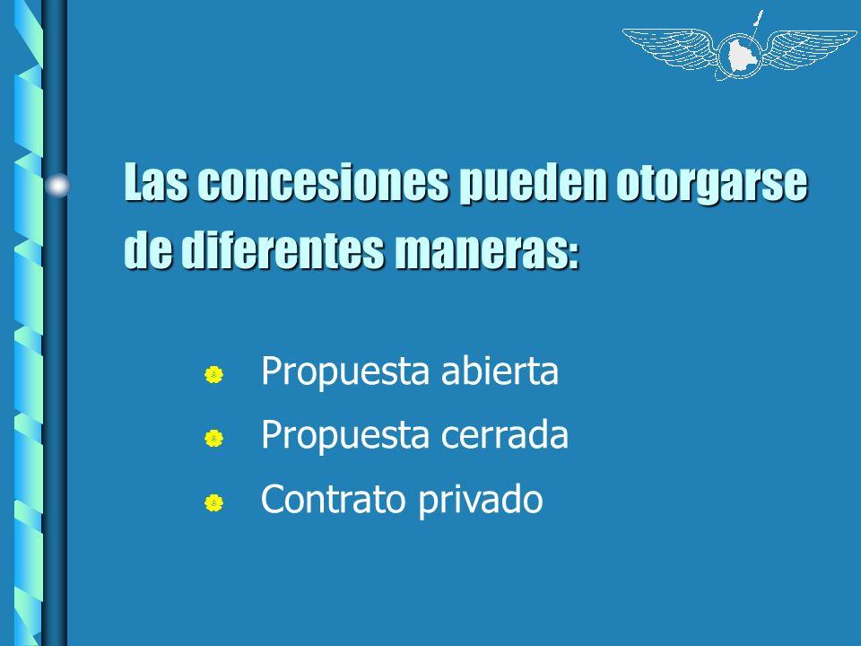 Las concesiones pueden otorgarse de diferentes maneras:
