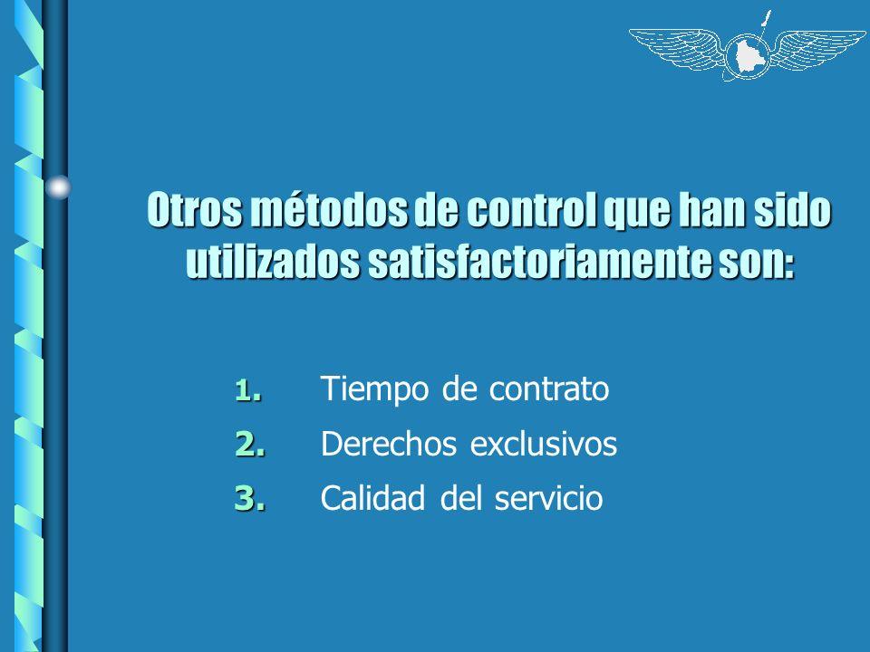 Otros métodos de control que han sido utilizados satisfactoriamente son: