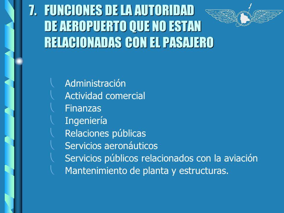 7. FUNCIONES DE LA AUTORIDAD DE AEROPUERTO QUE NO ESTAN RELACIONADAS CON EL PASAJERO